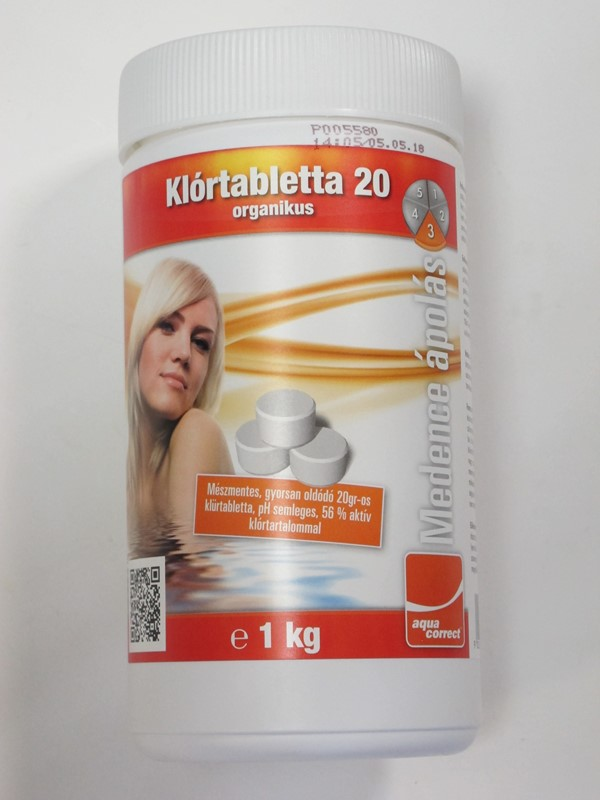 Aquacorrect gyorsan oldodó 56%-os klórtabletta (20g) 1kg AS-150041