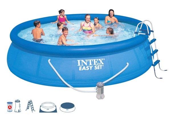 Intex 457x107cm puhafalú medence szett 3,8m3/h vízforgatóval 26166-28166