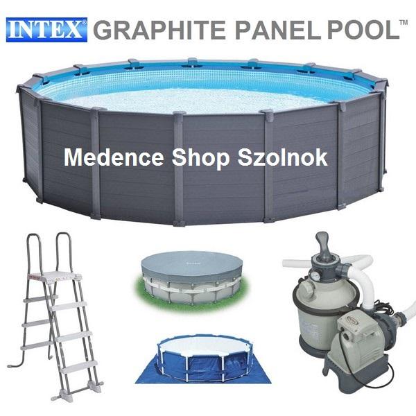 Intex 478x124cm fémvázas, grafit famintás medence szett 4,5m3/h homokszűrővel, kiegészítőkkel 26382 NP