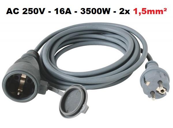 Kültéri hálózati hosszabbító kábel 20m 250V 16A 3500W NV 7-20/GY