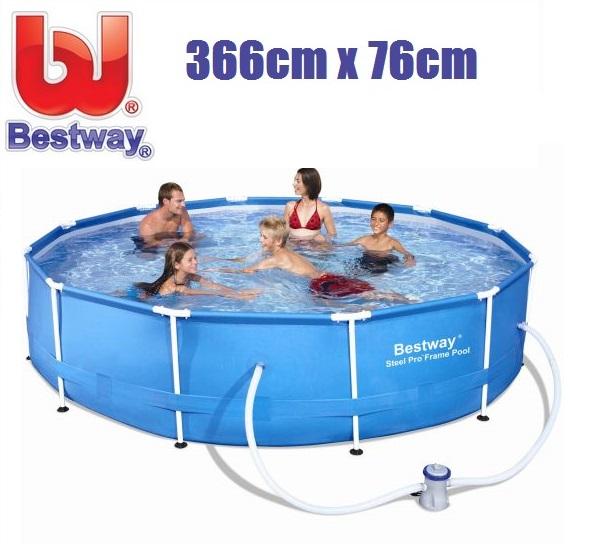 Bestway 366x76cm fémvázas medence 1,25m3/h vízforgatóval 56681