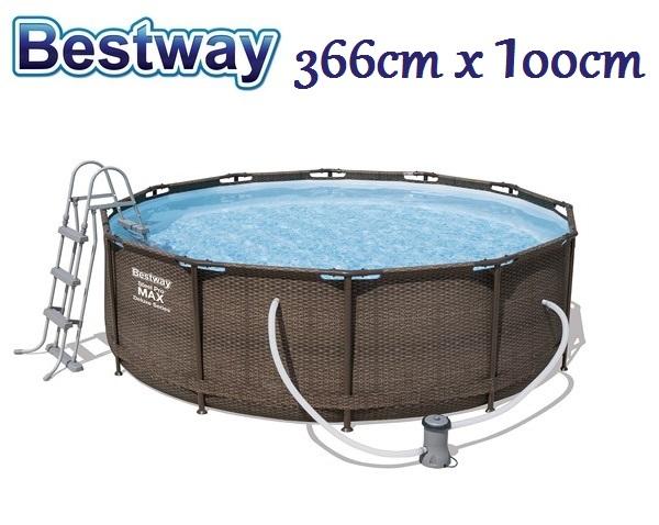 Bestway 366x100cm fémvázas RATTAN MINTÁS medence szett 2m3/h vízforgatóval BW 56709