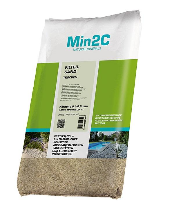 25kg szűrőhomok homokszűrőhöz 0,4-0,8mm szemcseméret Min2C Natural Minerals