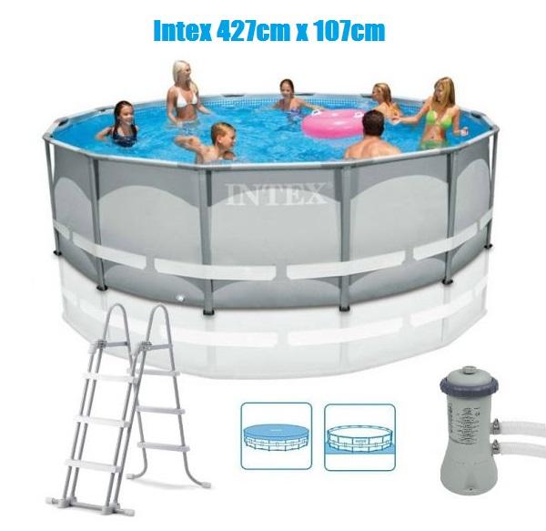 Intex 427x107cm fémvázas medence szett 3,8m3/h vízforgatóval Ultra Frame 26720 NP