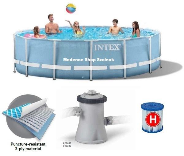 Intex 305x76cm fémvázas medence 1250l/h vízforgatóval Prism Frame 28702 26702
