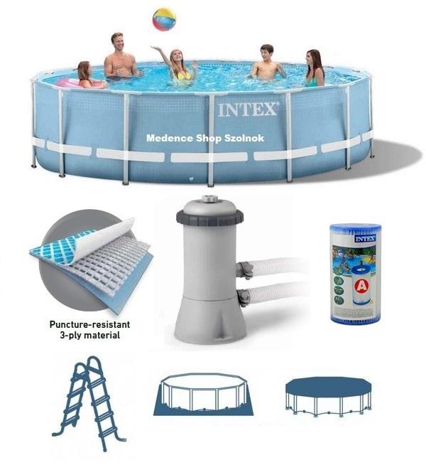 Intex 457x84cm fémvázas medence szett 2m3/h vízforgatóval 26728 NP