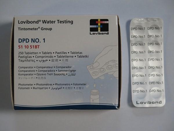 Lovibond fotóméter műszerhez 250db DPD1 tabletta a szabadklór méréséhez AS-03009