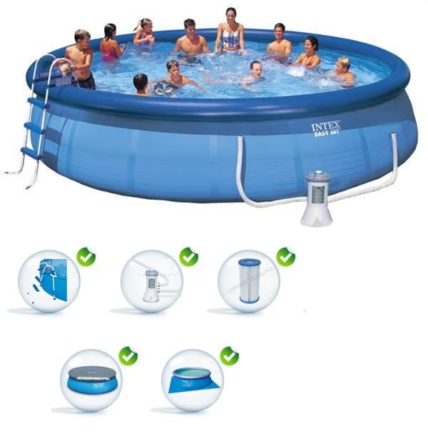 Intex 457x122cm puhafalú medence szett 3,8m3/h vízforgatóval 26168-28168