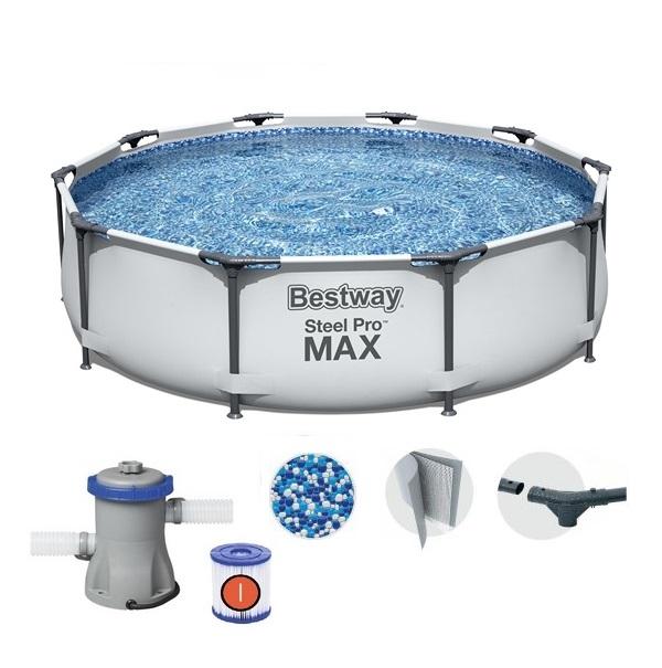 Bestway 305x76cm fémvázas medence 1,25m3/h vízforgatóval BW 56408 Steel Pro Max