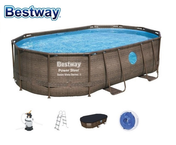 Bestway 488x305x107cm fémvázas ovális rattan mintás medence szett 3m3/h vízforgatóval 56946