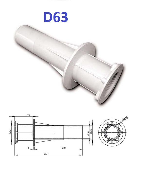 """Falátvezető idom fóliás medencéhez 2"""" D63mm H300mm UIB-1G"""