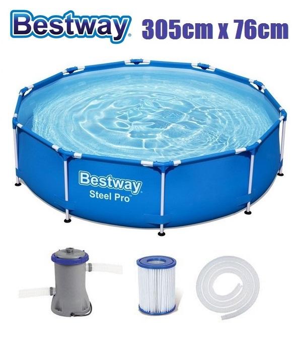 Bestway 305x76cm fémvázas medence 1,25m3/h vízforgatóval BW 56679