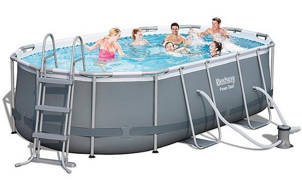 Bestway 424x250x100cm fémvázas ovális medence szett 2m3/h vízforgatóval 56620 FFA 620