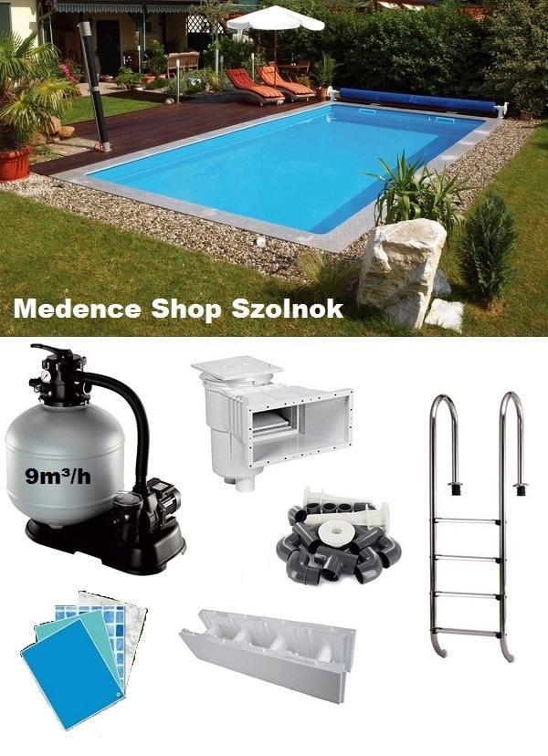 Massivpools Basic 7x3,5x1,5m medence szett Styropor téglából, gépészettel és kiegészítőkkel SB-016132