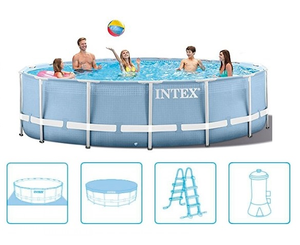 Intex 457x107cm fémvázas medence szett 3,8m3/h vízforgatóval Prism Frame 26724