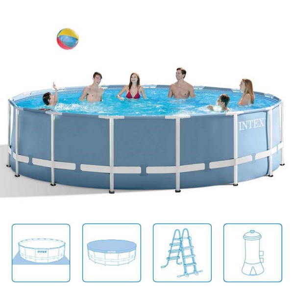 Intex 457x122cm fémvázas medence szett 3,8m3/h vízforgatóval Prism Frame 26726