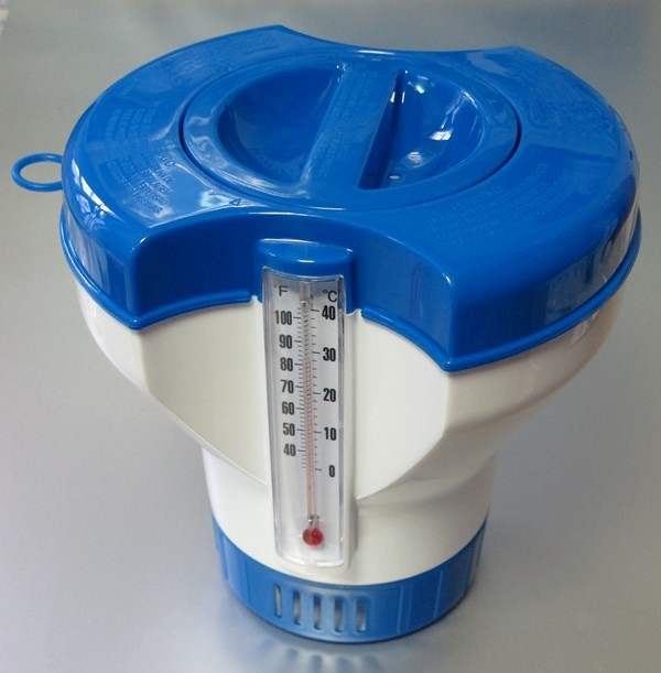 Basic úszó vegyszeradagoló óriás, HŐMÉRŐVEL és vegyszer figyelő ablakkal T960