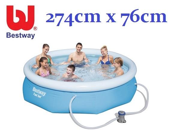 Bestway 274x76cm puhafalú medence 1,25m3/h vízforgatóval BW 57272