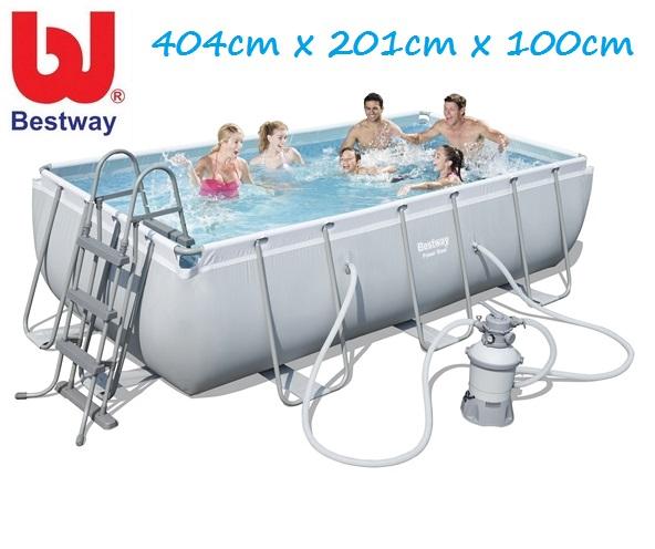 Bestway 404x201x100cm fémvázas medence szett 2m3/h homokszűrővel 56442
