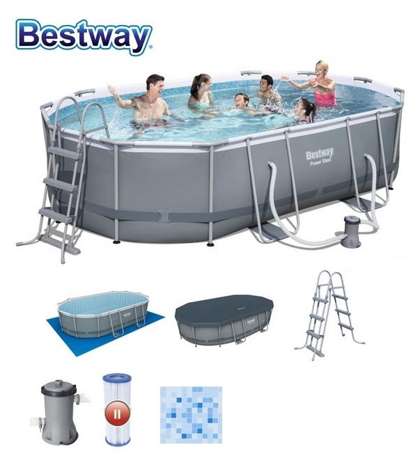 Bestway 488x305x107cm fémvázas medence szett 3m3/h vízforgatóval 56448