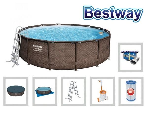 Bestway 427x107cm fémvázas RATTAN mintás medence szett 2m3/h vízforgatóval 56664