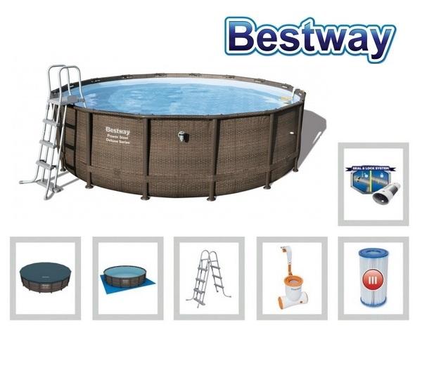 Bestway 488x122cm fémvázas RATTAN mintás medence szett 3,9m3/h vízforgatóval 56666