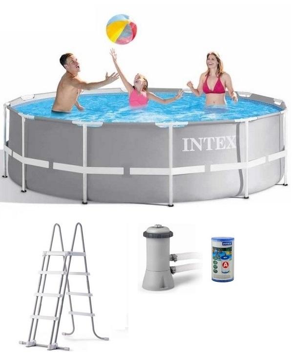 Intex 366x99cm fémvázas medence 2m3/h vízforgatóval Prism Frame 26716 NP