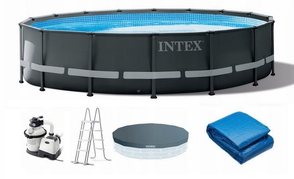 Intex 488x122cm fémvázas medence szett 4,5m3/h homokszűrővel és kiegészítőkkel 26326NP