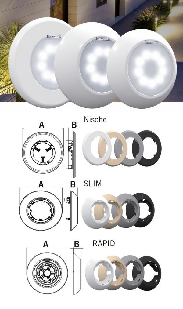 Astralpool LumiPlus Flexi ledes lámpa modulárisan összeválogatható alkatrészek