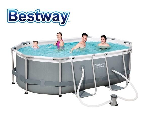 Bestway 300x200x84cm fémvázas ovális medence szett 1,25m3/h vízforgatóval 56617