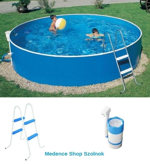 Azuro 360x90cm fémpalástos medence létrával és 2m3/h vízforgatóval