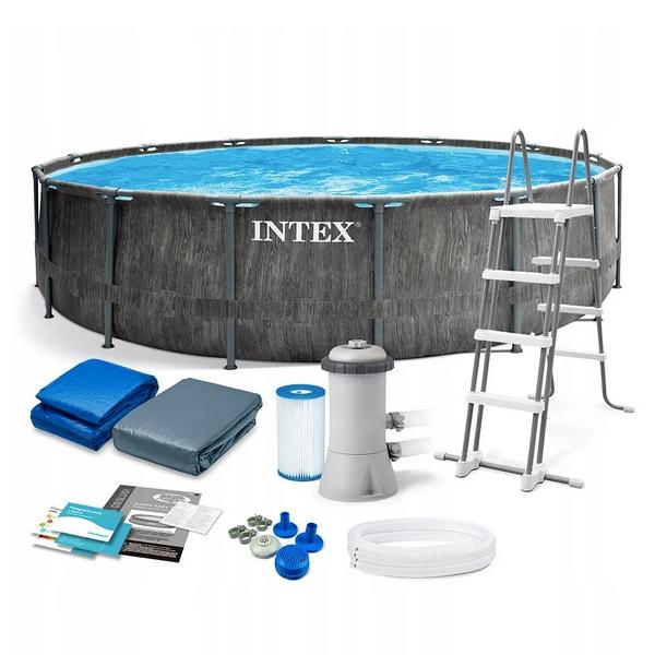 Intex 457x122cm fémvázas medence szett 3,8m3/h vízforgatóval GREYWOOD GRAFIT 26742