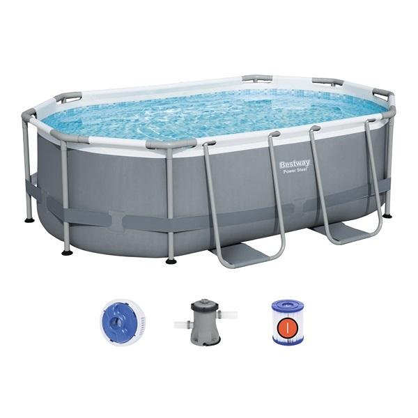 Bestway ovális 300x200x84cm fémvázas medence szett 1,25m3/h vízforgatóval 5614A