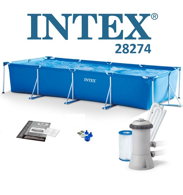 Intex 450x220x84cm fémvázas medence szett 2m3/h vízforgatóval 28274